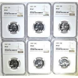 (6) 1957  WASHINGTON QUARTERS NGC PF 67
