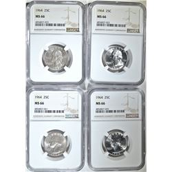 (4) 1964 WASH QUARTERS NGC MS-66