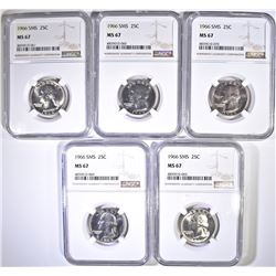 (5) 1966 SMS QUARTERS NGC MS-67