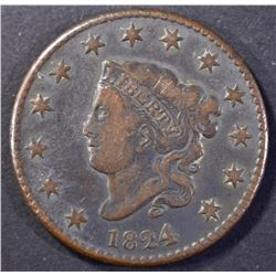 1824/2 LARGE CENT, VF