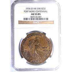 1934 ID HK-690 SO CALLED DOLLAR, NGC AU-55 BN