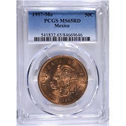 1957 MEXICO 50 CENTAVOS PCGS MS65RD