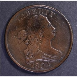 1804 DRAPED BUST HALF CENT, XF/AU