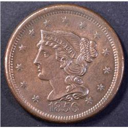 1856 LARGE CENT, CH BU