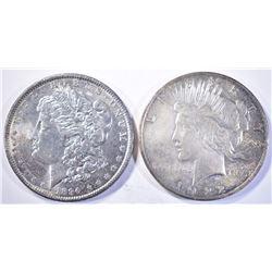 1890 MORGAN & 1922 PEACE SILVER DOLLARS CH BU