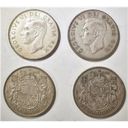4-1950 CANADIAN HALF DOLLARS, NO DESIGN