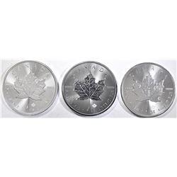 3-BU 2019 CANADIAN SILVER MAPLE LEAF COINS