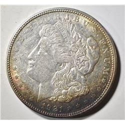 1921-D MORGAN DOLLAR, BU RAINBOW TONING OBV