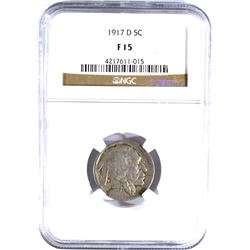 1917-D BUFFALO NICKEL, NGC FINE-15