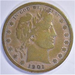 1901-S BARBER HALF DOLLAR F