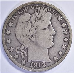1912-D BARBER HALF DOLLAR CHOICE FINE