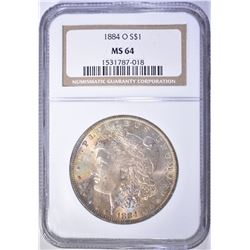 1884-O MORGAN DOLLAR NGC MS 64