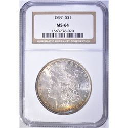 1897 MORGAN DOLLAR NGC MS 64 BETTER DATE