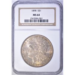 1898 MORGAN DOLLAR NGC MS 64 BETTER DATE