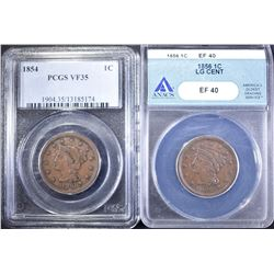 (2) COINS: 1854 BRAIDED HAIR LARGE CENT