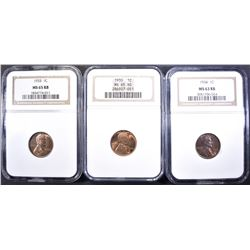 (3) LINCOLN COINS: 1930 NGC MS 65 RD,