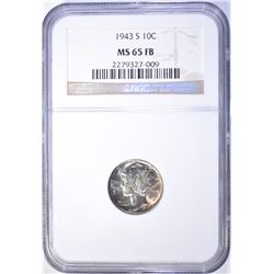 1943-S MERCURY DIME NGC MS 65 FB