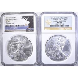 (2) COINS: 2015 EAGLE FIRST DAY OF ISSUE
