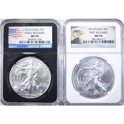 2-NGC MS-70 2014 AMERICAN SILVER EAGLES