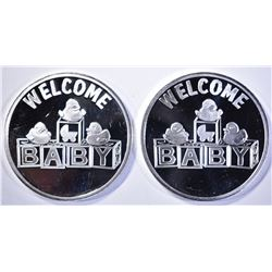 2-2019 WELCOME BABY 1oz .999 SILVER ROUNDS