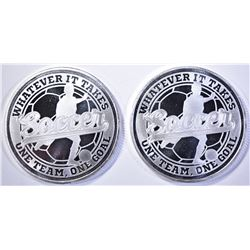 2-SOCCER ONE OUNCE .999 SILVER ROUNDS