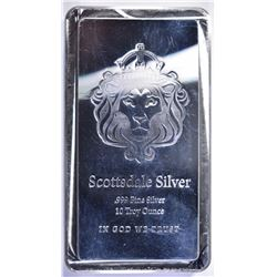 """SCOTSDALE"" TEN OUNCE .999 SILVER BAR"