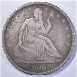 1861-O SEATED HALF DOLLAR, VF