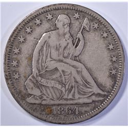 1864-S SEATED HALF DOLLAR, XF