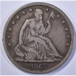 1865-S SEATED HALF DOLLAR, FINE