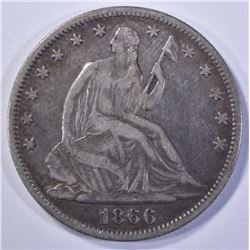 1866 SEATED HALF DOLLAR, XF