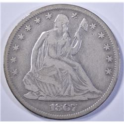 1867-S SEATED HALF DOLLAR, FINE