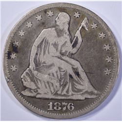 1876-CC SEATED HALF DOLLAR, VG