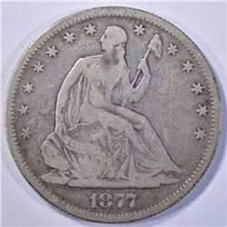 1877-S SEATED HALF DOLLAR, VG/FINE