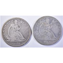 1869 & 71 SEATED HALF DOLLARS, VG