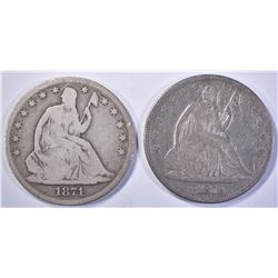 1871-S & 73 SEATED HALF DOLLARS, VG