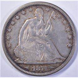1874  ARROWS SEATED HALF DOLLAR, AU WITH LUSTRE