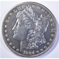 1884-S MORGAN DOLLAR, BU WITH MARK ON CHEEK