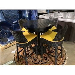 "5 PCS 36"" ROUND CAST ALUMINUM BAR HEIGHT OUTDOOR PATIO TABLE SET INCLUDING: BAR TABLE & 4 PLASTIC"