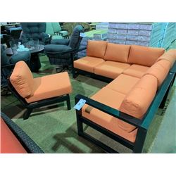 4 PCS CAST ALUMINUM OUTDOOR PATIO SECTIONAL SET WITH CUSHIONS