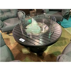 "42"" ROUND CAST ALUMINUM PROPANE OUTDOOR FIRE PIT WITH SAFETY GLASS"