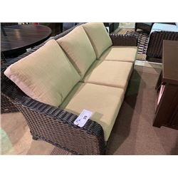 3 PCS 2 - TONE PLASTIC RATTAN OUTDOOR PATIO CHAT SET INCLUDING: 3 SEAT SOFA & 2 ARM CHAIRS WITH