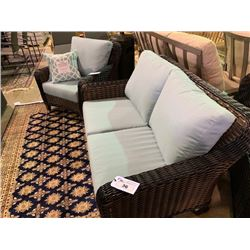 3 PCS 2 - TONE PLASTIC RATTAN OUTDOOR PATIO CHAT SET INCLUDING: 2 SEAT SOFA & 2 ARM CHAIRS WITH