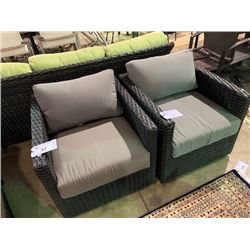 PAIR OF CHARCOAL PLASTIC RATTAN OUTDOOR PATIO ARM CHAIRS WITH CUSHIONS