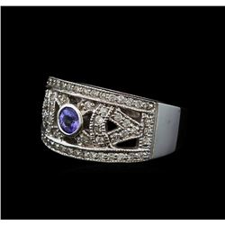 0.28 ctw Tanzanite and Diamond Ring - 14KT White Gold