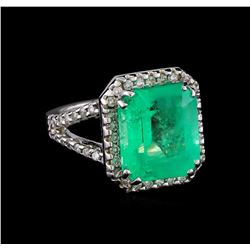 8.40 ctw Emerald and Diamond Ring - 14KT Yellow Gold