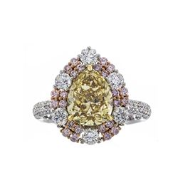 3.16 ctw Fancy Yellow Diamond Ring - 18KT Two-Tone Gold