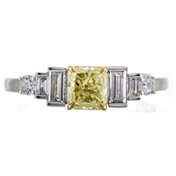 1.01 ctw Fancy Yellow Diamond Ring - 18KT Two-Tone Gold