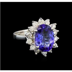 14KT White Gold 3.00 ctw Tanzanite and Diamond Ring