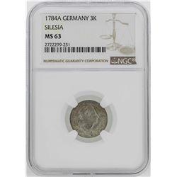 1784-A Germany Silesia 3 Krezuer Coin NGC MS63
