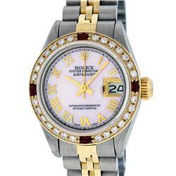 Rolex Ladies 2 Tone 14K Pink MOP Diamond & Ruby Datejust Wristwatch